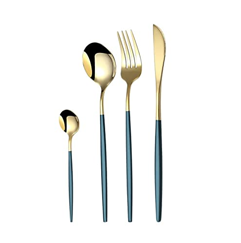 OUDEING Juego De Cubiertos De Cocina Juego de vajillas Occidentales de Acero Inoxidable, Cuchillo y Tenedor de Mesa, Cuchillo de Filete de Alto Grado, Pulido de Espejo-Verde 24pcs