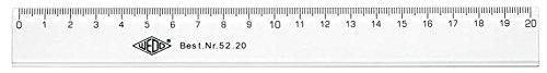 Wedo 5220 Lineal 20 cm, Tuschkante, geprägte Zentimeter Einteilung, Kunststoff, transparent