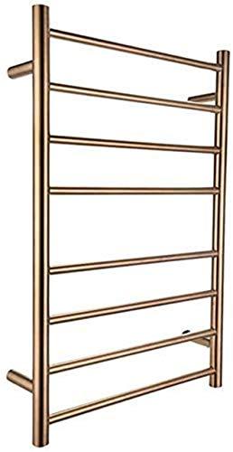Estante de secado para toallero, calentador de toallas, toallero eléctrico de acero inoxidable 304 con 8 barras calefactoras, toallero caliente montado en la pared para baño dorado
