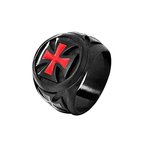 Anillos para hombre, color negro, acero inoxidable, armadura roja, escudo, caballero, templario, cruzado, anillo cruzado, joyería punk9