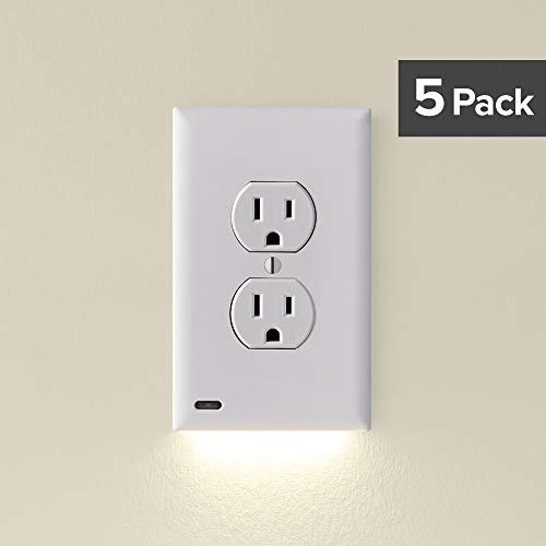 SnapPower Guidelight - Outlet Wall Plate With LED Night Lights - No Batteries Or Wires - Installs In Seconds - (Duplex, White) (5 Pack) (SRWH-101-XD)