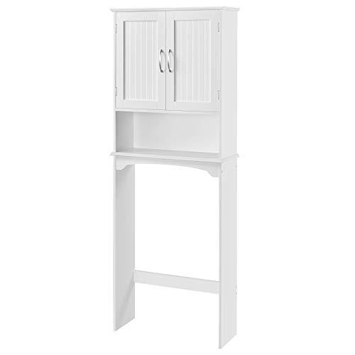 Yaheetech Over The Toilet Cabinet, Double Door Bathroom Storage Organizer, Toilet Rack with Inner Adjustable Shelf and Open Storage Shelf, White