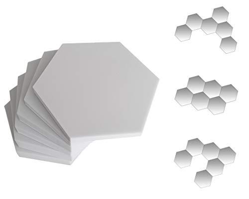 6x Basotect® G+ Schall-Absorber-Platten, Schalldämmung – Hexagonförmiger high-end Akustik Schaumstoff – elegantes, innovatives Design - Breitbandabsorber perfekte Raumakustik bei Heimkino, Hifi