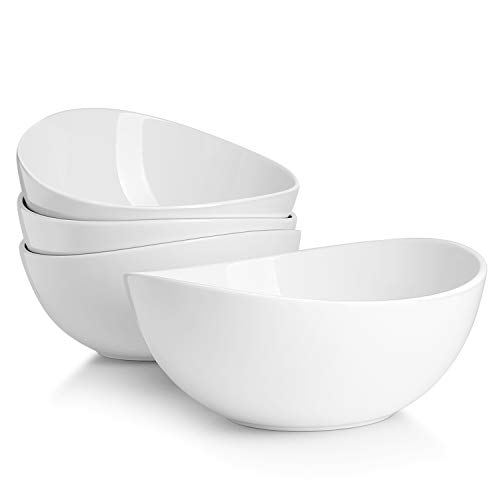 Sweese 104.401 Porcelain Bowls - 42 Ounce for Salad, Fruits and Popcorn - Set of 4, White
