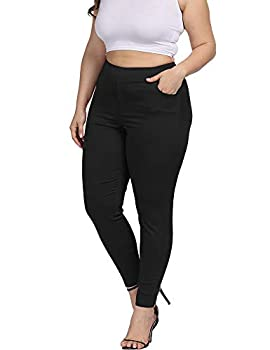 ALLEGRACE Women Plus Size Skinny Pants Stretch Slim Fit Pull-on High Waist Pants with Pockets Black 2X