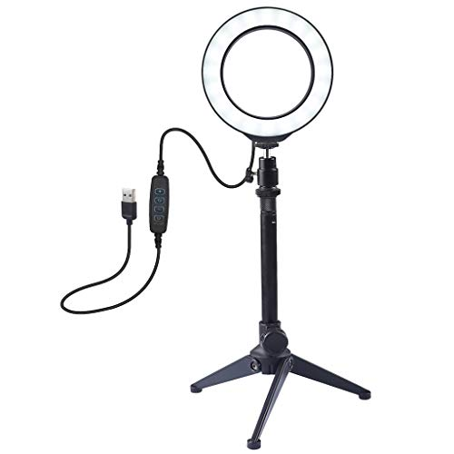 LED Ring Light with Tripod Stand, 3 Modes Dimmable Live Light Kit, USB Powered, Desktop Stand, Phone Holder for Live Streaming, Video Shooting, Camera (Black)