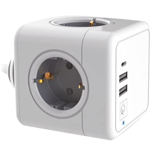 Silver Electronics - E-Kube Cubo Regleta Alargador Ladron con Enchufe con 4 Tomas, 1 USB-C, 2 USB, Cable 1,5m Protección contra Sobretensiones, Ideal para Hogar, Oficina y Viaje