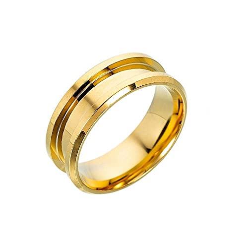 Suministros de fabricación azul negro accesorios de joyería de 8 mm anillos de metal en blanco anillos (10, oro)