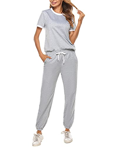 Hawiton Womens Tracksuit Loungewear Outfits Short Sleeve Sweatsuits Jogger Sets Sportswear Suit Long Pants with Pocket,Grey,M