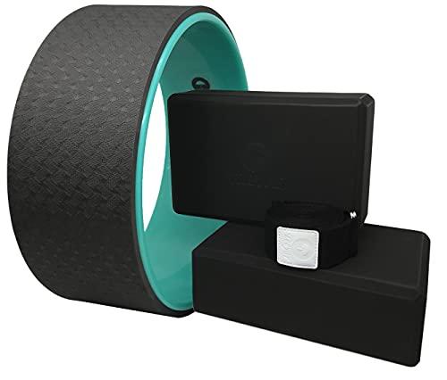Tiiyar Yoga Kit - Yoga Wheel Yoga Block and Strap Set with E-book Guide (Black) by Tiiyar Inc