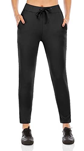 scicent Jogginghose Damen 7/8 Hose Sporthosen Sweathose Freizeithose Relaxhose Elegant Stoffhose Arbeitshose Joggpants Schwarz L EU 40 42