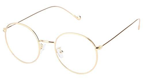 Lukis Brille Nerdbrille Retro Rund Unisex Metallgestell Brillenfassung Dekobrillen 140x50mm Gold