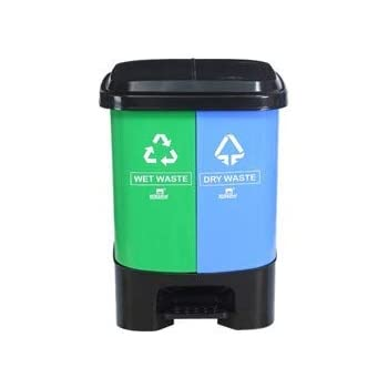 Nilkamal Twin Color Dustbin for Home, Kitchen, Restaurant Blue and Green (10+10 LTR.)