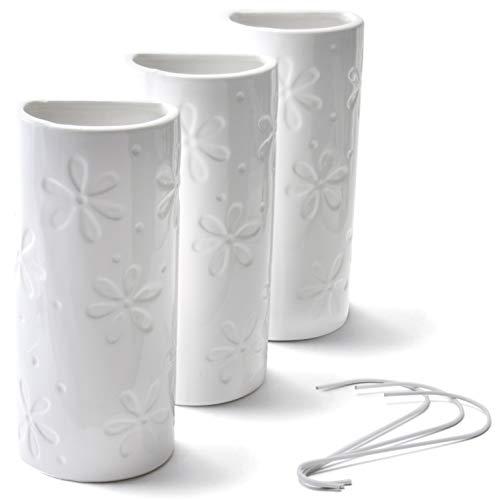 Ligano Heizkörper Luftbefeuchter mit Blumenmotiv – Keramik Wasserverdunster für die Heizung – 3 Stück