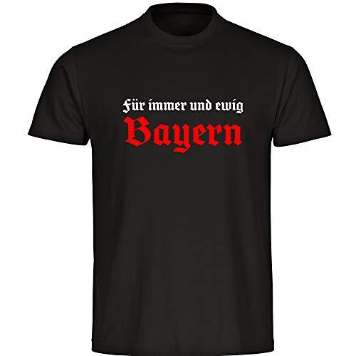 T-Shirt Für Immer und ewig Bayern schwarz Herren Gr. S bis 5XL - Bayern Fußball München Fanartikel, Größe:XXXXXL
