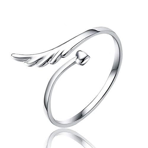 Esberry, anello placcato oro 14 K con ali d'angelo, anello alla moda, dolce e creativo, per ragazze e donne