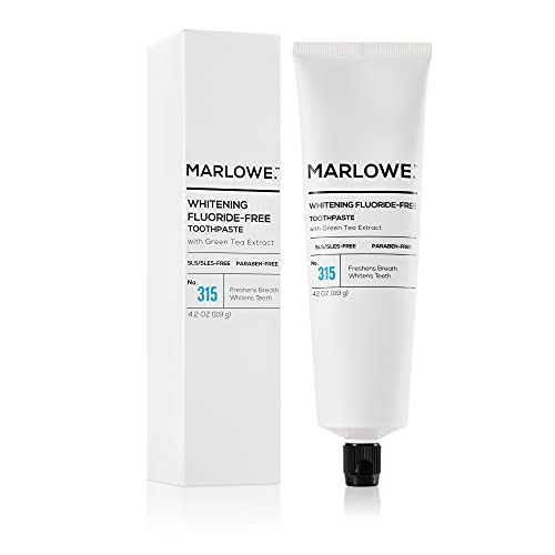 Marlowe. No. 315 Whitening Toothpaste 4.2oz | Fluoride-Free | Made with Natural Ingredients | Green Tea Extract | Freshens Breath, Whitens Teeth