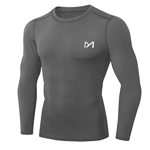 MEETYOO Kompressionsshirt Herren, Funktionsshirt Langarm Fitnessshirt Männer Sportshirt Atmungsaktiv Laufshirt für Laufen Jogging Sport Turnhalle (Grau-1, M)