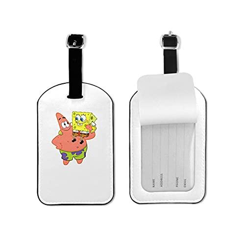 Sp-Onge Bob Etiquetas de equipaje de microfibra de cuero personalizado para maleta Set de etiquetas de identificación de equipaje