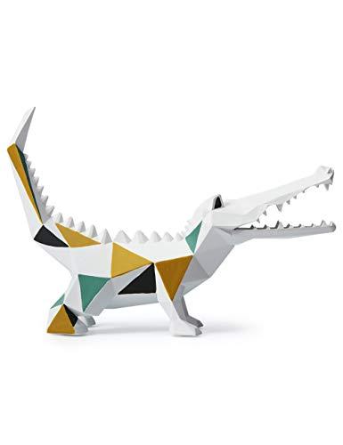 Amoy-Art Skulptur Figur Krokodil Statue Art Geometrisch Tier Dekor für Haus Geschenk Andenken Giftbox Resin 27cmL