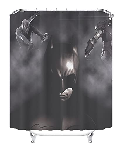 YITUOMO Nationalheld Batman Duschvorhang wasserdichter Polyester Schimmel Dicker Polyester Duschvorhang 3D-Druck Anime Charaktere 180x180cm