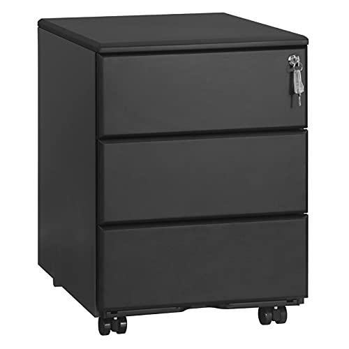 WOLTU Rollcontainer Metall, Mobiler Aktenschrank Büroschrank mit 3 Schubladen Bürocontainer, abschließbares und verstellbares Hängeregister, vormontiert, Büro, Home Office Schwarz SK024sz