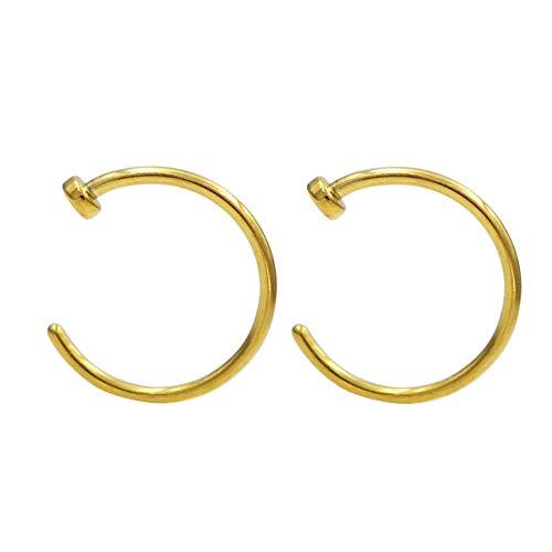 JOFUKIN 2pcs 316L Surgical Steel Piercing Jewelry 7mm Nose Rings 22 Gauge Lip Ring 22g Nose Hoop Yellow Gold Thin Septum Rings for Women Men