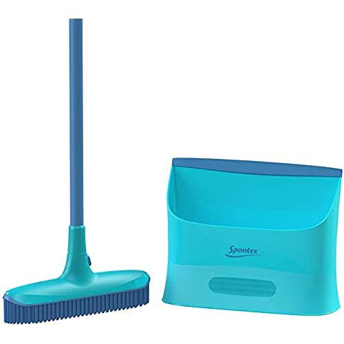 Spontex Spontex Catch & Clean - Escoba Y Recogedor De Goma para Interiores 1000 g, Azul