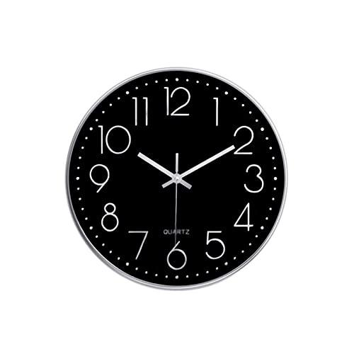 XBYUNDING Reloj de pared moderno 12'Reloj de pared decorativo sin ticipo silencioso Reloj de pared decorativo redondo para sala de estar,dormitorio,marco plateado Dial negro Se puede dar a los amigos