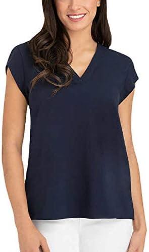 Hilary Radley Ladies Short Sleeve Blouse Navy Large product image