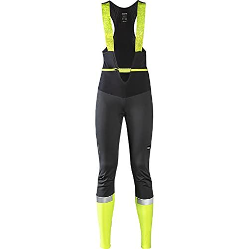 GORE WEAR Damen Thermo Fahrrad-Trägerhose Ability, Mit Sitzpolster, GORE-TEX INFINIUM, 42, Schwarz/Neon-Gelb