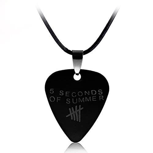 DOOLY Música de Moda 5 Segundos de Verano Logo corazón Colgante Collar Rock Band Punk Negro Cuerda Cadena Collar joyería