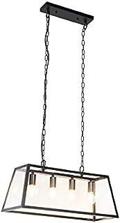 QAZQA Lámpara colgante industrial negra 4 luces - Captiva Acero/Vidrio Cuadrada/Piramidal/Rectangular/Piramidal/Alargada Adecuado para LED Max. 4 x 60 Watt
