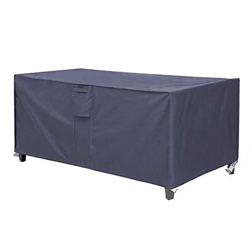 SONGMICS Housse pour mobilier de jardin, Bâche de protection pour table et chaises, 170 x 100 x 70 cm, en tissu Oxford 600D imperméable anti-décoloration, pour extérieur, terrasse, Gris foncé GFC94G