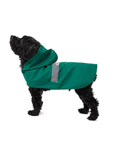 32 DEGREES Small to Large Dog Hooded Raincoat Poncho Slicker, Hunter Green, Medium