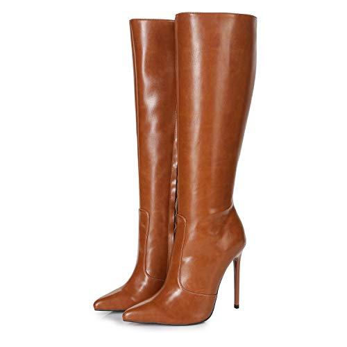 Ellie Tailor Dizzy Premium Stiefel für Damen - Elegante High-Heels - Kniestiefel mit hohem Absatz - Damenstiefel - Stöckelschuhe für Frauen - erhältlich in 2 Farben (Braun Matt, Numeric_42)