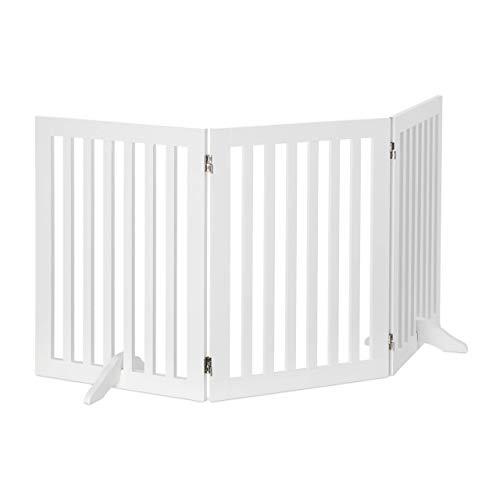 Relaxdays Absperrgitter, verstellbares Schutzgitter für Hunde, Kinder Absperrgitter, Kamin & Ofen, MDF, 70x154 cm, weiß
