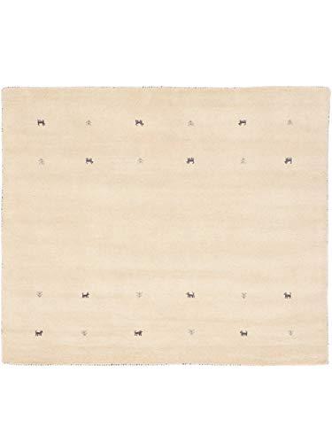 CarpetFine Tapis de Laine Gabbeh Uni Blanc 150x150 cm   Tapis Moderne pour Le Salon et la Chambre à Coucher
