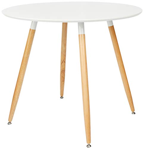 Relaxdays Table à manger ronde en bois ARVID HxD: 74 x 90 cm table d'appoint table de salon pieds nature, blanc