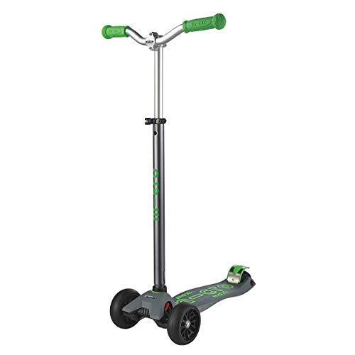 Micro Kickboard - Maxi Deluxe Pro Kick Scooter - Smooth-Gliding, 3-Wheeled, Lean-to-Steer Scooter with Wide, Stable Wheels and Chopper-Style, Adjustable-Height Handlebars Ages 5-12 (Grey/Green)