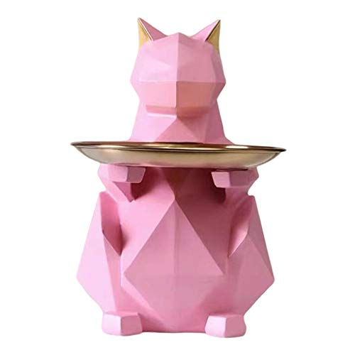 Geometric Cat Storage Tray, Cute Animal Sculptures Resin Keys Candy Dish Jewelry Earrings Holder Home Bedroom Entrance Table Desk Decor - Pink