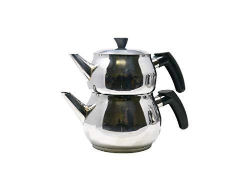 "Türkischer Teekocher Edelstahl Wasserkocher Caydanlik""Pasha"" Tee Kocher 4-tlg.Set (1, Medium)"