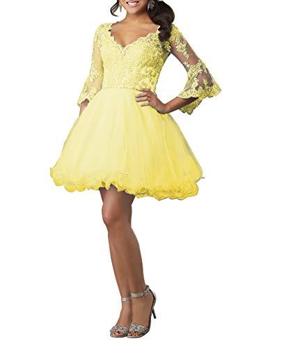 HUINI Ballkleid Damen Kurz Abendkleid Cocktailkleid Elegant Spitzen Abiballkleid mit Ärmel A-Linie Abschlussballkleid Gelb 54