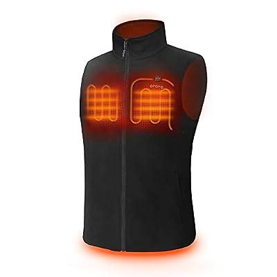 ORORO Men's Fleece Heated Vest with Battery Pack(Black, XL)