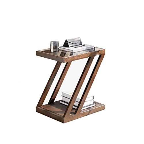 GzxLaY Toda la Capa Doble de Madera Maciza se Puede Colocar la Mesa Lateral Simple Pequeño apartamento Sala de Estar de la Sala de Estar Superficie de Vidrio Templado Creativo Pequeño café