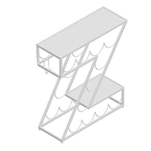 estantería de vino Forma de Z Mesa, Estilo Europeo Hierro Botella Soporte de Almacenamiento para la Decor de la Cocina/Sala de Estar, 46×18×56cm (Color : White)