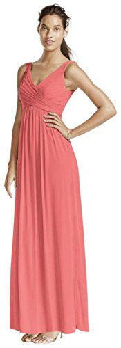 Long Mesh Bridesmaid Dress with Cowl Back Detail Style F15933, Coral Reef, 14