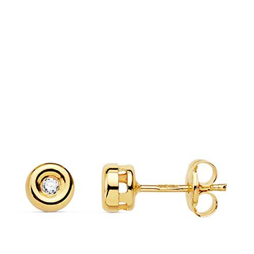 Pendientes con Diamantes Oro Amarillo 18K Brillantes 0,030 ct. Joyas de Mujer. Dormilona, Chatón, Punto de Luz