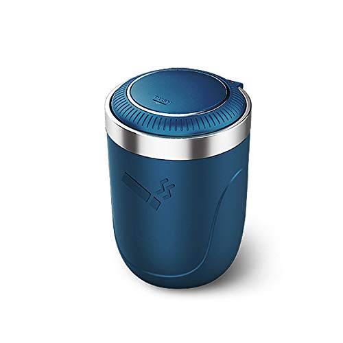 Cenicero de coche con tapa, cenicero universal para coche MoreChioce Cenicero portátil de plástico para coche, cenicero con luz, azul