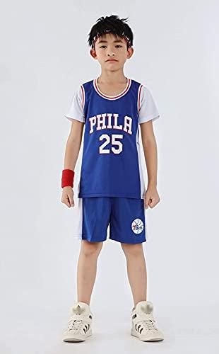 76ers 25# Simmons Children's Jersey Set, Boys and Girl Baloncesto Sweeping Tronco Camiseta Pantalones Cortos De Verano, Manga Corta, Azul, 2X, Blue - S